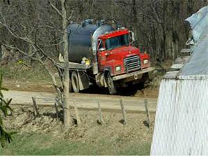 Tanker crushing barn's driveway